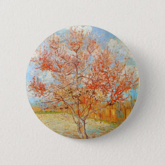 Van Gogh Pink Peach Tree in Blossom Button