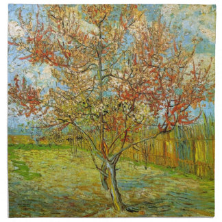 Van Gogh Pink Peach Tree in Blossom, Fine Art Cloth Napkin