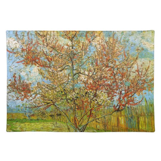Van Gogh Pink Peach Tree in Blossom, Fine Art Placemat