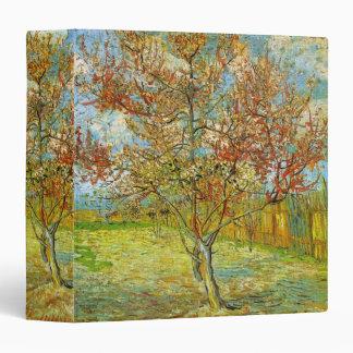 Van Gogh Pink Peach Tree in Blossom, Vintage Art 3 Ring Binders
