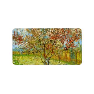 Van Gogh Pink Peach Tree in Blossom, Vintage Art Address Label