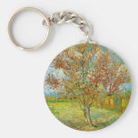 Van Gogh Pink Peach Tree in Blossom, Vintage Art Basic Round Button Keychain