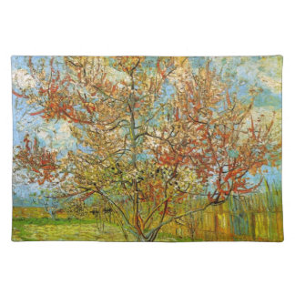 Van Gogh Pink Peach Tree in Blossom, Vintage Art Cloth Placemat