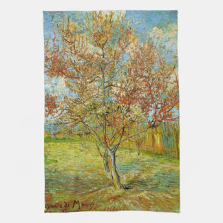 Van Gogh Pink Peach Tree in Blossom Vintage Art Kitchen Towels