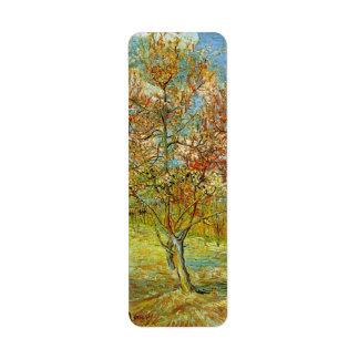 Van Gogh Pink Peach Tree in Blossom, Vintage Art Return Address Label