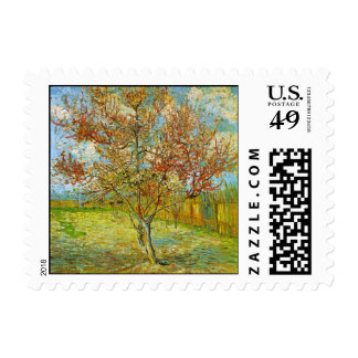 Van Gogh Pink Peach Tree in Blossom, Vintage Art Stamp