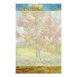 Van Gogh Pink Peach Tree in Blossom, Vintage Art Custom Stationery