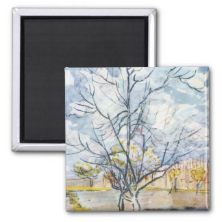 Van Gogh Pink Peach Trees 2 Inch Square Magnet