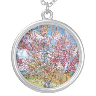 Van Gogh - Pink Peach Trees Silver Plated Necklace
