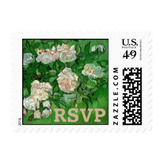 Van Gogh Pink Rose Flowers, Vintage RSVP Stamp