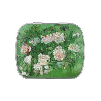 Van Gogh Pink Rose Flowers, Vintage Still Life Art Jelly Belly Candy Tin