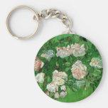 Van Gogh Pink Rose Flowers, Vintage Still Life Art Basic Round Button Keychain