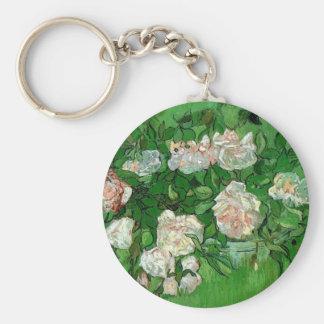 Van Gogh Pink Rose Flowers, Vintage Still Life Art Keychains