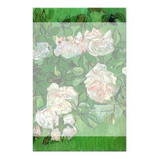 Van Gogh Pink Rose Flowers, Vintage Still Life Art Stationery
