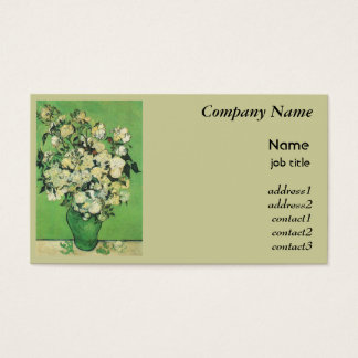 Van Gogh, Pink Roses in a Vase Business Card