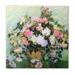 """Van Gogh Pink Roses Tile<br><div class=""""desc"""">Van Gogh Pink Roses tile. Oil painting on canvas from 1890. Vincent Van Gogh painted a number of beautiful rose paintings, preferring pale pink blossoms above all others. Pink Roses Still Life is a pretty flower painting featuring light pink roses in a vase. One of Van Gogh's most visually charming...</div>"""