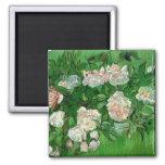 Van Gogh Pink Roses, Vintage Garden Fine Art 2 Inch Square Magnet