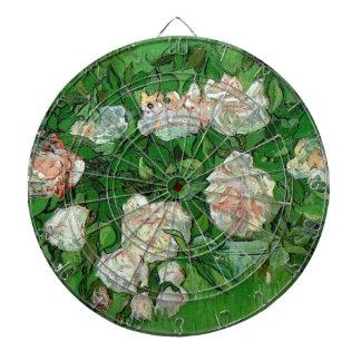 Van Gogh Pink Roses, Vintage Garden Fine Art Dartboard