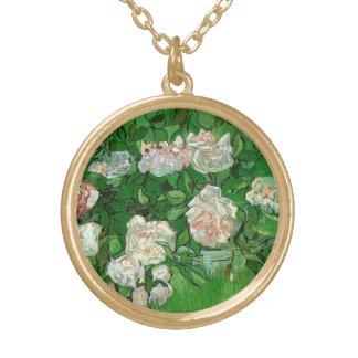 Van Gogh Pink Roses, Vintage Garden Fine Art Gold Plated Necklace