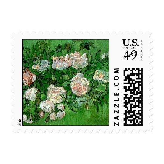 Van Gogh Pink Roses, Vintage Garden Fine Art Postage