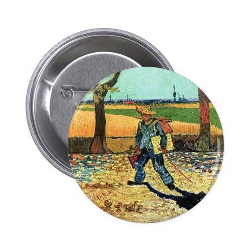 Van Gogh - pintor en su manera de trabajar Pin Redondo 5 Cm