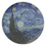 Van Gogh - placa de la noche estrellada Plato Para Fiesta