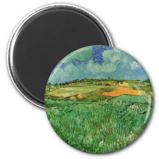 Van Gogh Plain Near Auvers, Vintage Fine Art 2 Inch Round Magnet