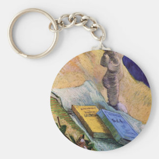 Van Gogh, Plaster Statuette, a Rose and Two Novels Basic Round Button Keychain