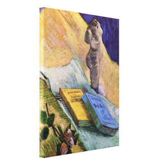 Van Gogh, Plaster Statuette, a Rose and Two Novels Canvas Print
