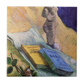 Van Gogh, Plaster Statuette, a Rose and Two Novels Ceramic Tile