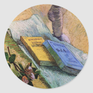 Van Gogh, Plaster Statuette, a Rose and Two Novels Classic Round Sticker