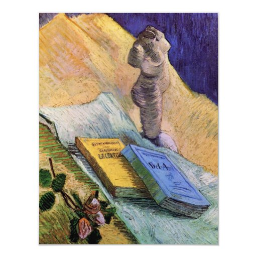 Van Gogh, Plaster Statuette, a Rose and Two Novels 4.25x5.5 Paper Invitation Card