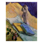 Van Gogh, Plaster Statuette, a Rose and Two Novels Posters