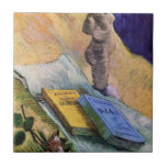 Van Gogh, Plaster Statuette, a Rose and Two Novels Tiles