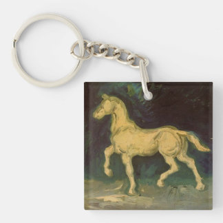 Van Gogh Plaster Statuette of a Horse, Vintage Art Double-Sided Square Acrylic Keychain
