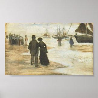 Van Gogh - playa con caminar y barcos de la gente Posters