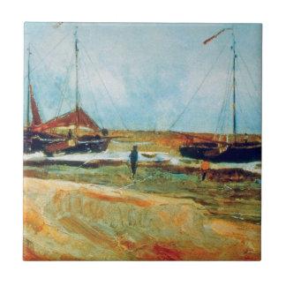 Van Gogh - playa en Scheveningen en tiempo Azulejo Cuadrado Pequeño