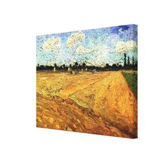 Van Gogh Ploughed Field, Vintage Fine Art Canvas Print