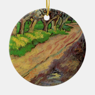Van Gogh Pollard Willows, Vintage Landscape Art Double-Sided Ceramic Round Christmas Ornament