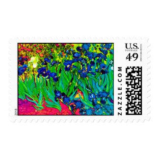 Van Gogh - Pop Art Irises Stamps