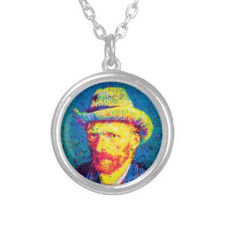 Van Gogh - Pop Art Self Portrait With Grey Hat Round Pendant Necklace