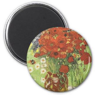 Van Gogh Poppies 2 Inch Round Magnet