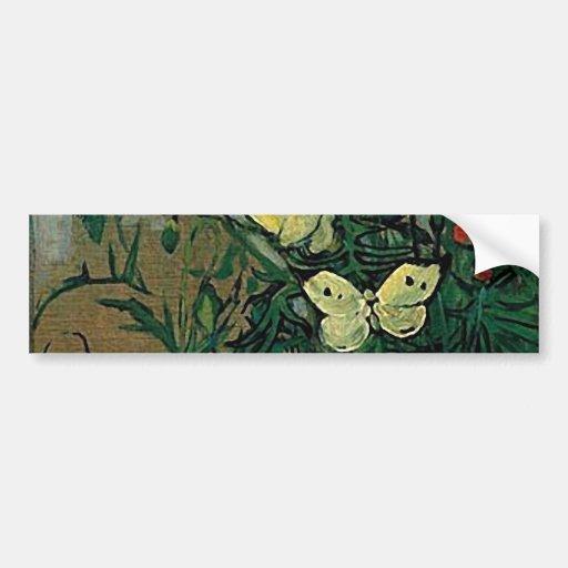 Van Gogh Poppies and Butterflies (F748) Fine Art Bumper Stickers