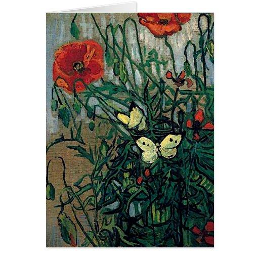 Van Gogh Poppies and Butterflies (F748) Fine Art Card