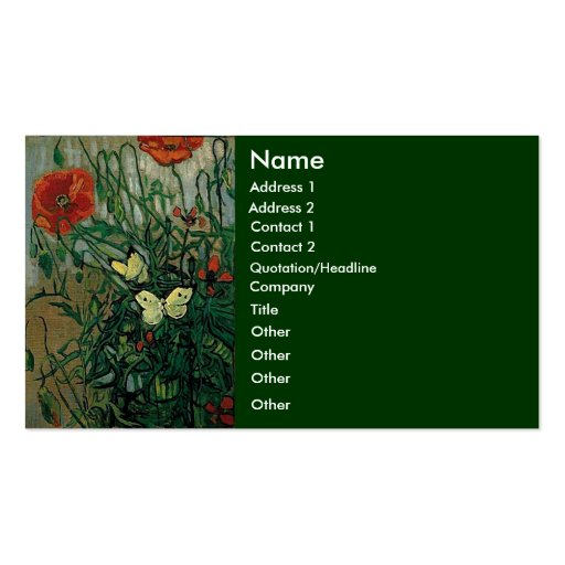 Van Gogh Poppies and Butterflies (F748) Fine Art Double-Sided Standard Business Cards (Pack Of 100)