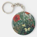 Van Gogh Poppies and Butterflies (F748) Fine Art Keychains