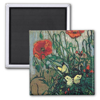Van Gogh Poppies and Butterflies (F748) Fine Art 2 Inch Square Magnet