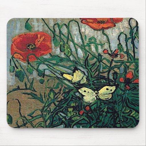 Van Gogh Poppies and Butterflies (F748) Fine Art Mousepads