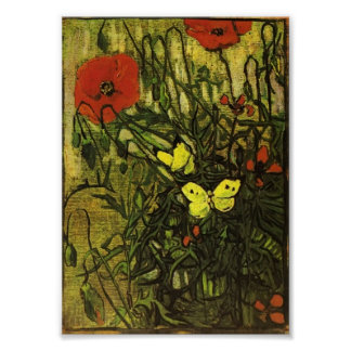 Van Gogh - Poppies and Butterflies Poster
