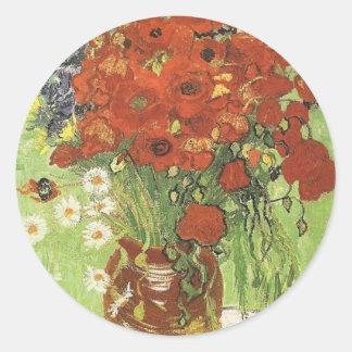 Van Gogh Poppies Classic Round Sticker
